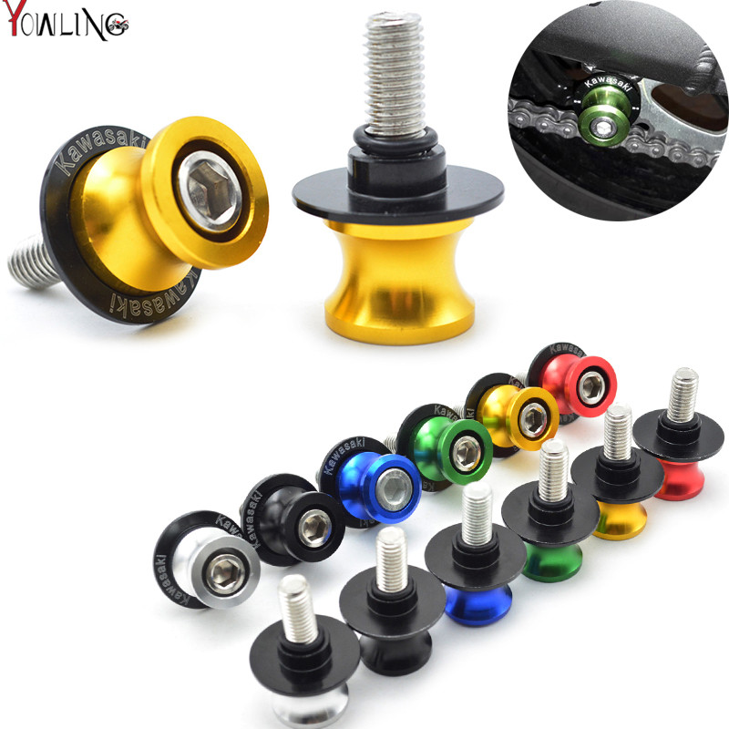 Motorcycle CNC Swingarm Slider Spools stand screws For KAWASAKI Ninja ZX6R ZX7R ZX9R ZX10R ZX12R ZX14R Z1000 Z750 ZZR600 ZRX1100 for kawasaki z800 z1000 zx 6r zx 10r kle 650 versys motorcycle accessories swingarm spools slider 8mm stand screws blue