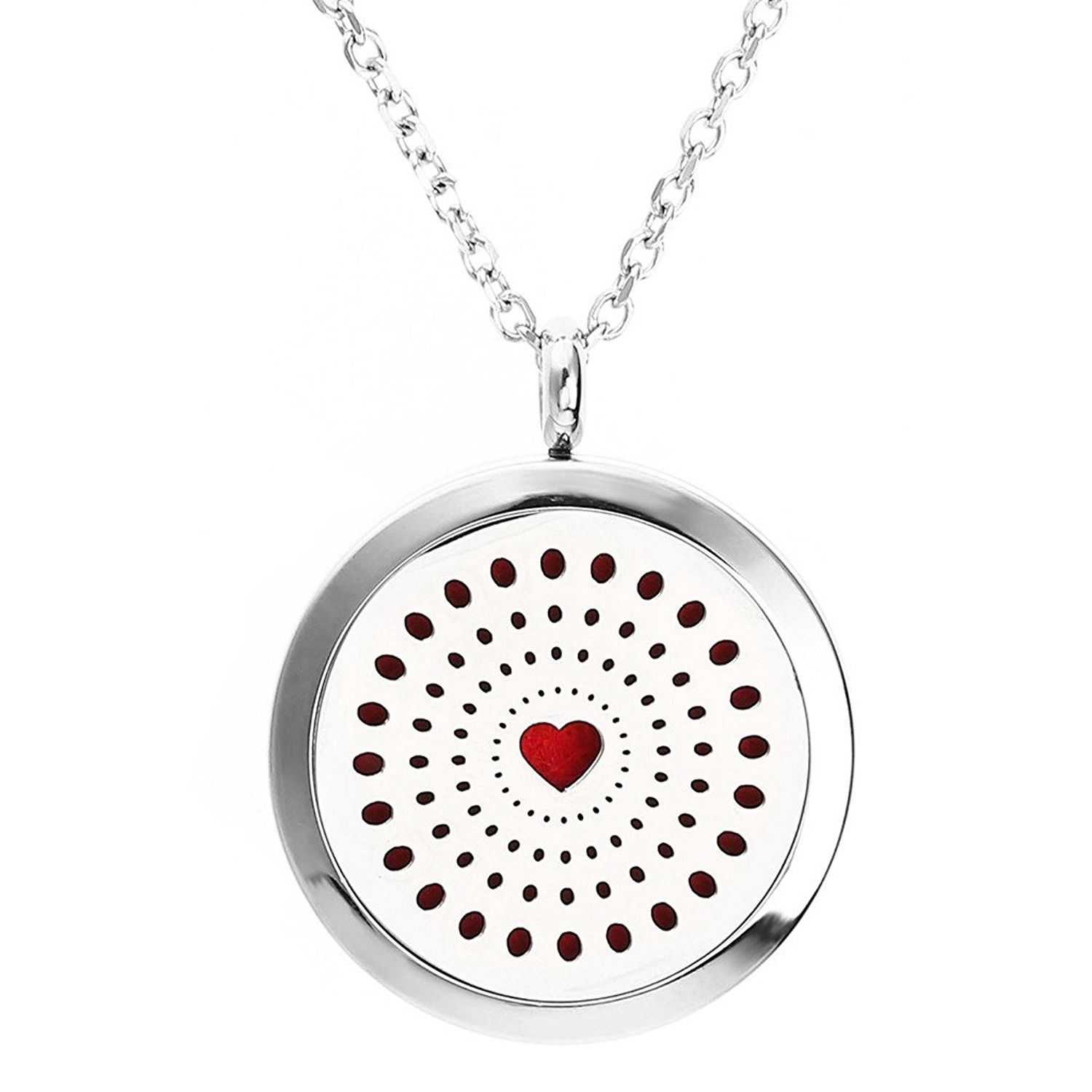 Aromatherapy Essential Oil Diffuser Necklace 316L Stainless Steel Locket Pendant Ring with & 6 Felt Pads Love is infinite