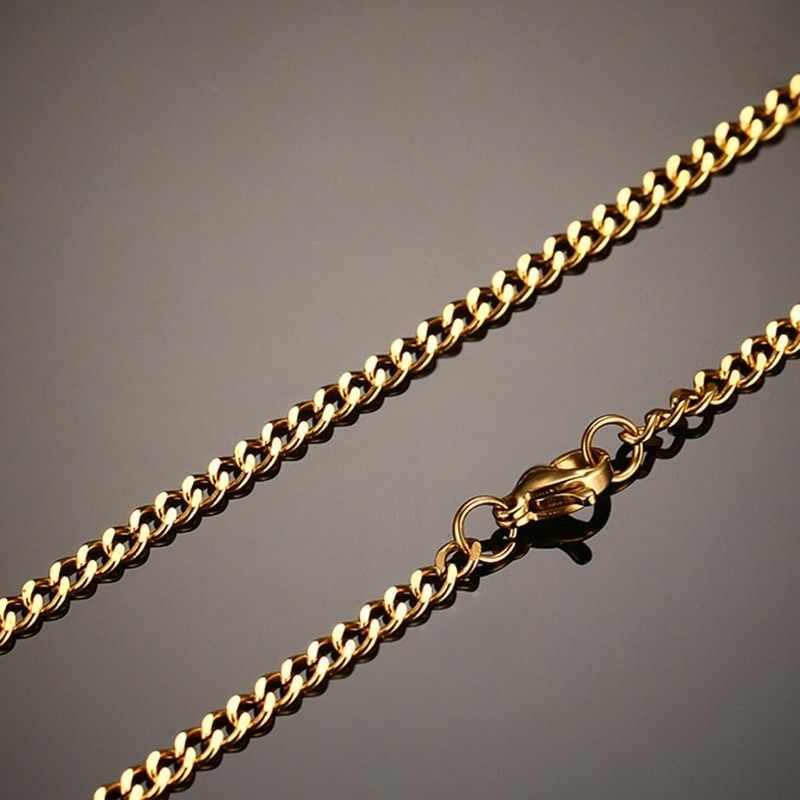 """Vnox 24 """"/28"""" Curb Link Chain dla mężczyzn stal nierdzewna czarny srebrny złoty kolor męskie naszyjniki Punk Rocky biżuteria"""