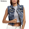 2017 Spring Cropped Women's Denim Vest Vintage Ripped Jackets Female Sleeveless Turn-down Collar Colete Short Coats New Fashion