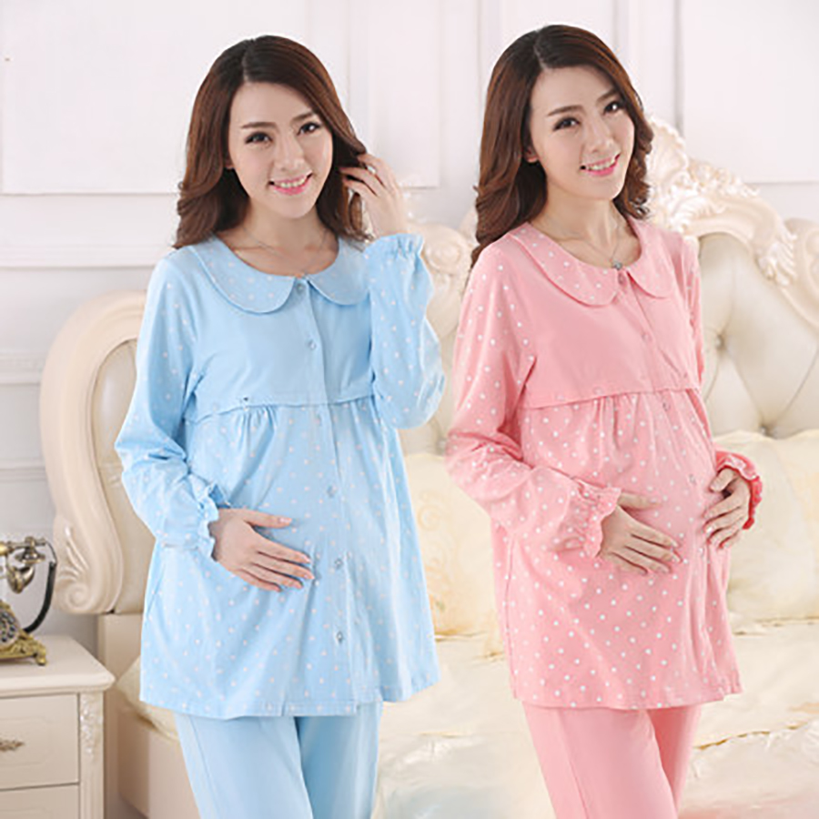 Korean Maternity Clothes Nursing Winter Top Pregnant Pajamas Long Sleeve Fashion Cute Cotton Pregnant Clothes Big Size 50M0013 cotton materinty nursing pajamas long sleeve pijamalar hamile plaid pajamas set maternity sleepwear for pregnant women 50m084