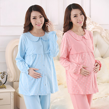 Korean Maternity Clothes Nursing Winter Top Pregnant Pajamas Long Sleeve Fashion Cute Cotton Pregnant Clothes Big Size 50M0013 可愛い マタニティ パジャマ