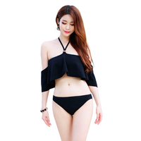 Sexy Off Shoulder Bikini Set Women 2017 Ruffled Swimsuit Two Pieces Black Bikini Bandeau Swim Wear