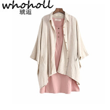 WHOHOLL Women Long Batwing Sleeve Linen Shirts Autum Solid Color Blouses V Neck Casual Loose Women Linen Shirts Tops v neck batwing sleeve striped linen shirt