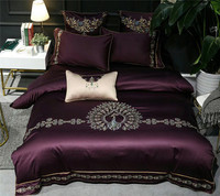 Luxury Peacock Embroidery 100S Egyptian Cotton Bedding Set Duvet Cover Bed sheet Pillowcase Queen King Size 4/7 PCS Home textile