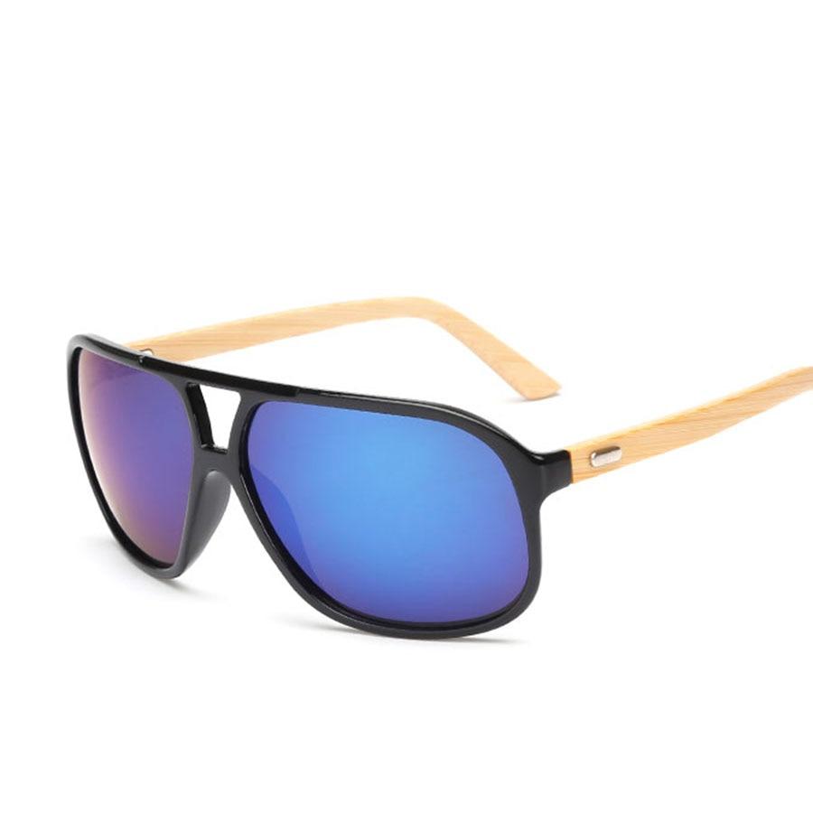Flat Top Bamboo font b Sunglasses b font Men Vintage Style Brands font b Sunglasses b