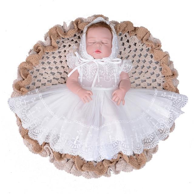 2 cái Đặt Bé Ăn Mặc cho Trẻ Sơ Sinh Công Chúa Cô Gái với Nắp Sleevesless Mặc Đám Cưới Vestido Infantil Làm Lễ Rửa Tội Rửa Tội Ăn Mặc