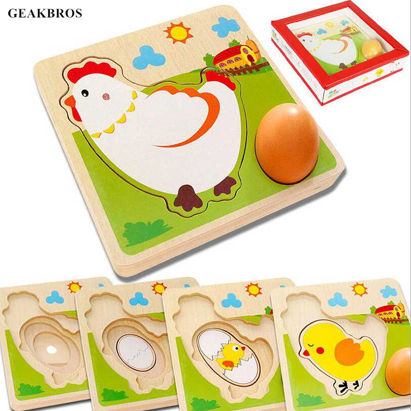 Kids Montessori Toys Mulit-layer Chicken Hen Growing Up Cartoon Children Wooden Puzzles Panel Process Early Emulational Eggs Toy