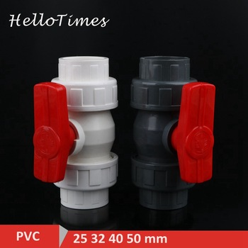 1 unidad, válvula de unión de válvula de bola de PVC de 20mm 25mm 32mm 40mm 50mm, Conector de tubería de agua de PVC, accesorios de manguera de plomería, válvula de cierre deslizante