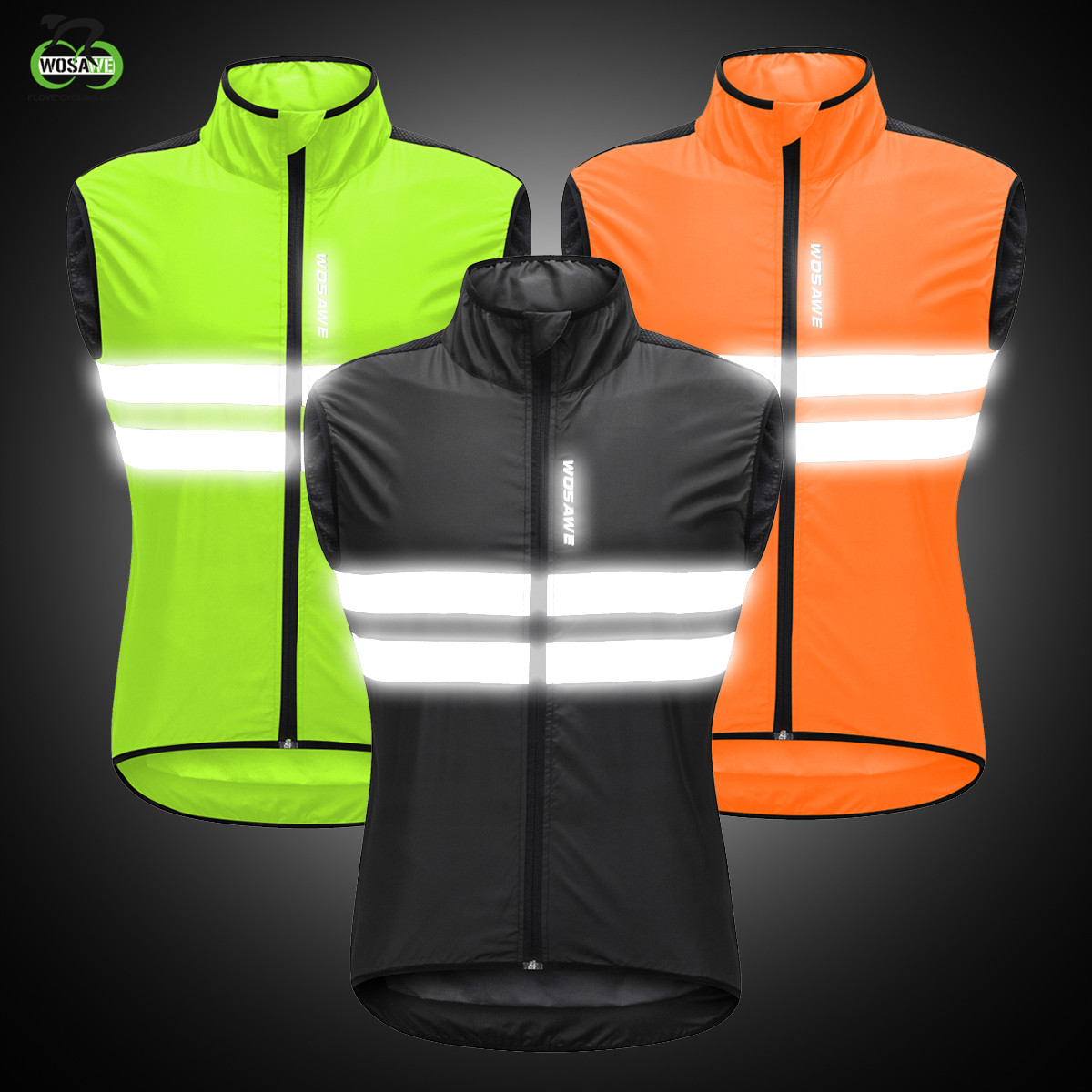 WOSAWE High Visibility Cycling Vest Reflective MTB Sleeveless Windproof Windbreaker Bike Bicycle Jersey Safety Vest Wind Coat