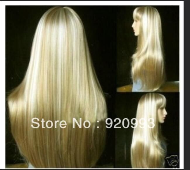 Symbol Of The Brand Mix White Straight Women's Hair Full Wig Heating Curly Cosplay Mother's Silver Gray Long Fibre Blended Hair None Lace Wigs