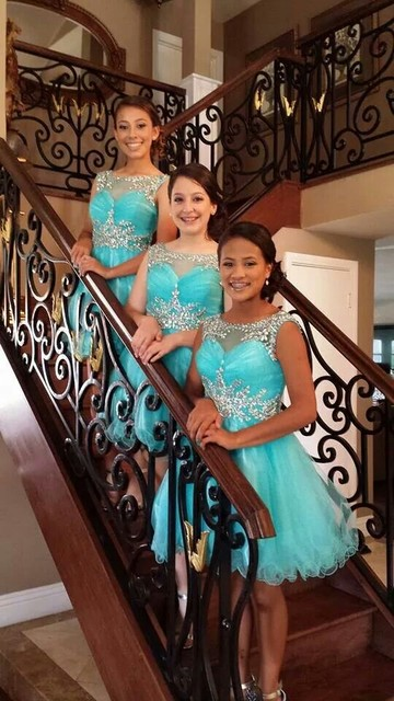 02415d553381 2016 Tiffany Blue Homecoming Dresses A-line Scoop Beaded Crystals Knee  Length Tulle Party Gowns Prom Custom Made