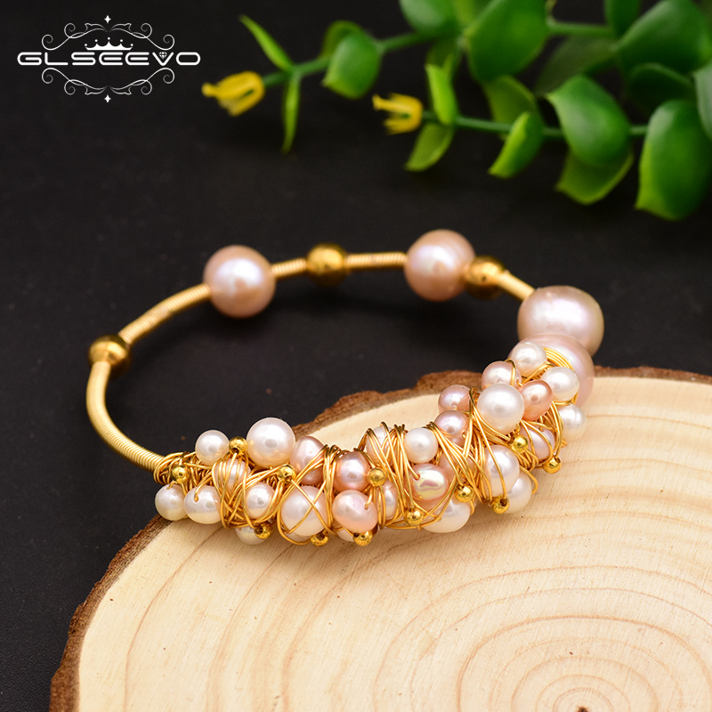 XlentAg Original Natural Fresh Water Pink Pearl Handmade Open Bangle For Women Wedding Party Luxury Jewelry Pulseira GB0116 in Bracelets Bangles from Jewelry Accessories