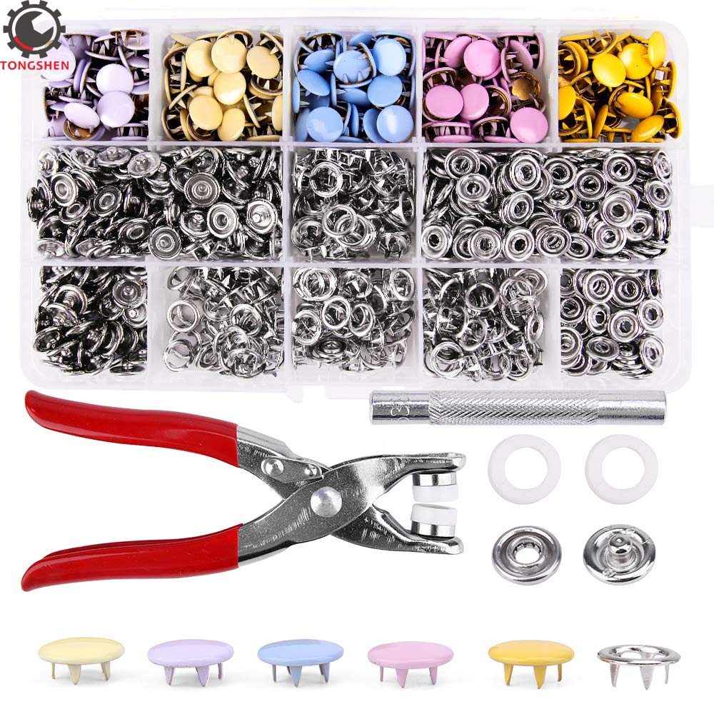 200 Sets Snap Fasteners Kit Tool Metal Snap Buttons Rings with Fastener Pliers Press Tool Kit for Clothing 5 multicolor 10 mm