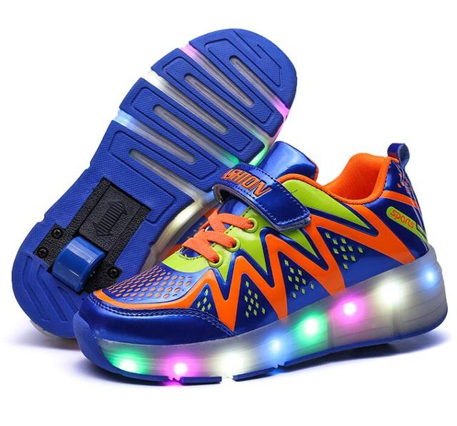 Children Wheel Shoes Fashion Sports Roller Skates Boy & Girls Sports Shoes Invisible Button Casual Shoe Kids LED Light Sneakers