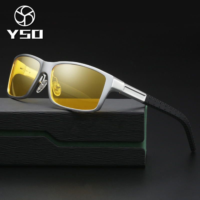 YSO Night Vision Glasses Men Aluminium Magnesium Frame Polarized Night Vision Goggles For Car Driving Fishing Anti Glare 8554