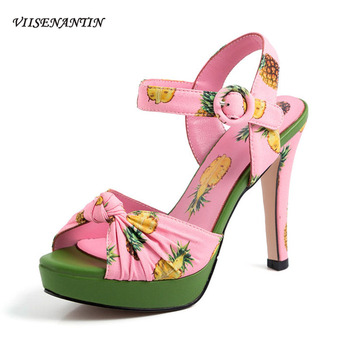 VIISENANTIN 2019 New Fashion Fish Mouth Summer Sandal Shoe Pineapple Printing Stiletto Waterproof Platform Sexy High Heels Women