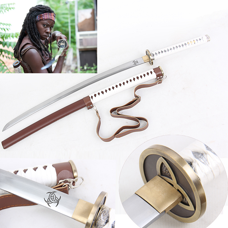 For America Move the Walking Dead Sword-Michonne's Killer Zombie Killer Oțel Lama reală Full Tang Sharpness Ready-Handmade