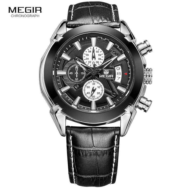 MEGIR Chronograph Casual Watch Men Luxury Brand Quartz Military Sport Genuine Leather
