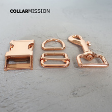 (metal buckle+adjust buckle+D ring+metal dog clasp/set) 25mm diy collar accessory durable hardware Kirsite slider