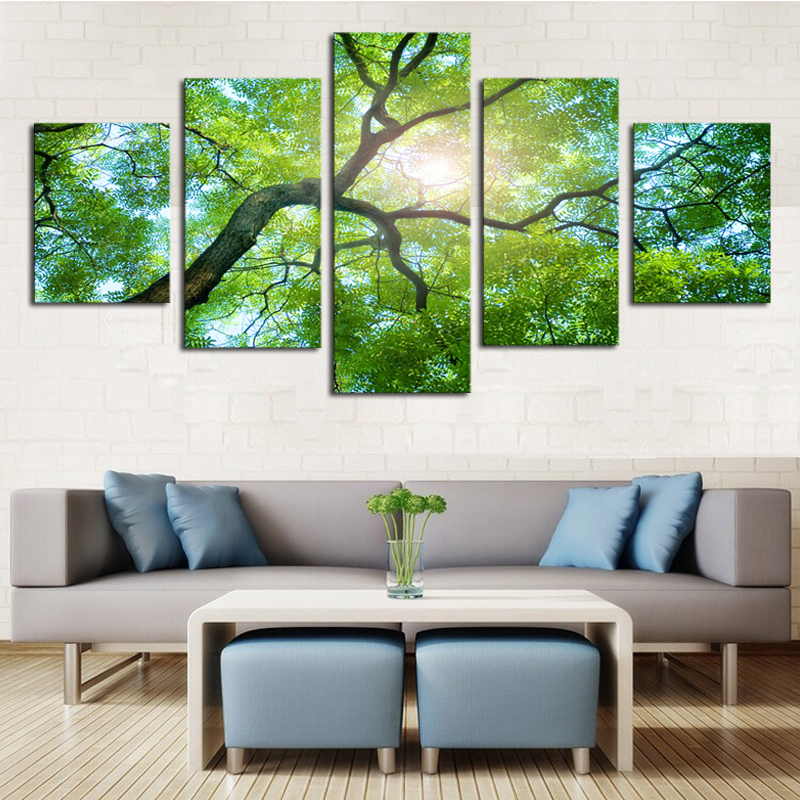 5 piece green trees modern home wall decor canvas picture art hd print painting on canvas. Black Bedroom Furniture Sets. Home Design Ideas