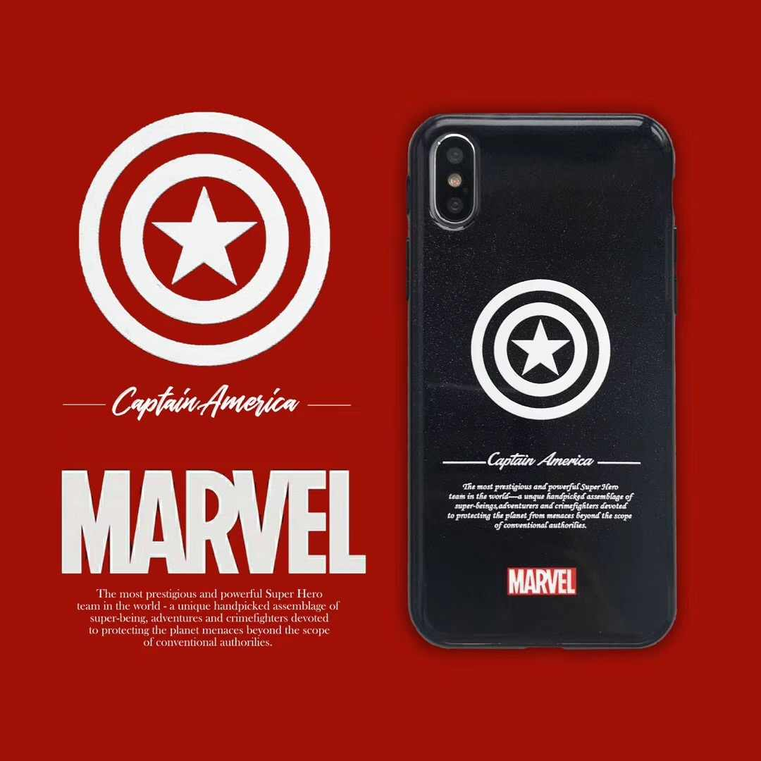 Super Captain America MARVEL Hero LOGO iron Man Spiderman Glitter Silicone  Cover For iPhone 7 8 6 6S Plus XS MAX X XR Phone Case