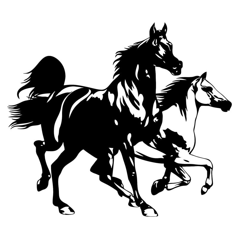 2118 3cm Two Running Horses Car Styling Stickers Personality Car