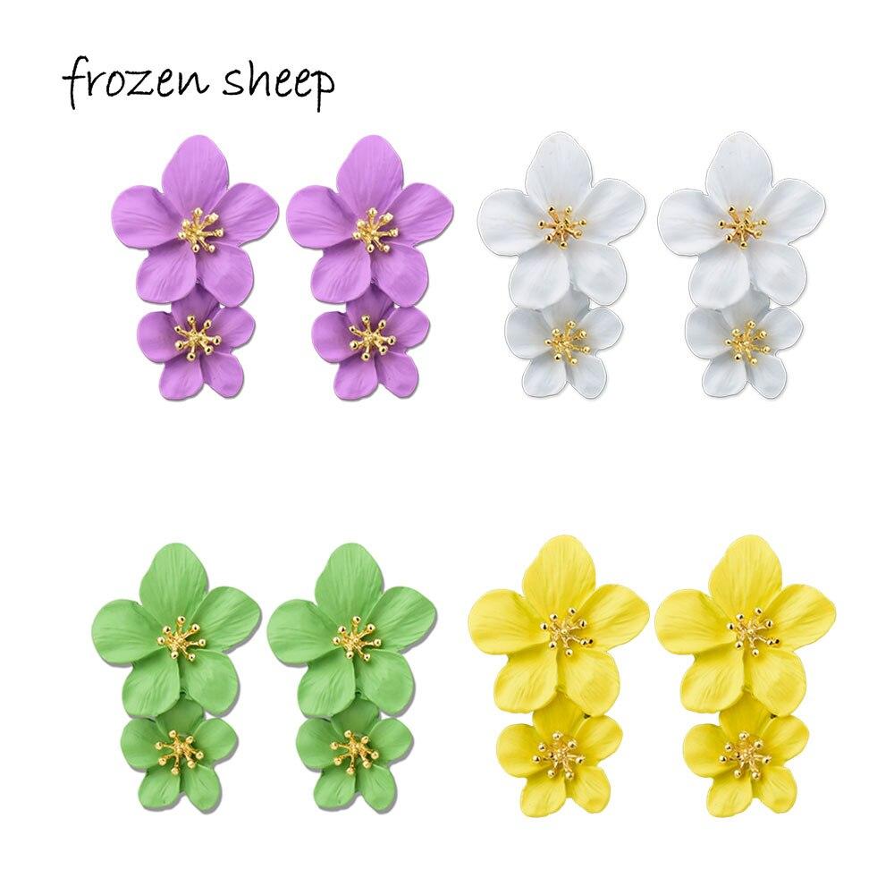 baa9f0c500f9 Frozensheep 5 colores pintados de aleación pendientes de flores de 2019 de moda  flor pendientes para las mujeres de moda femenina joyería DE LA DECLARACIÓN