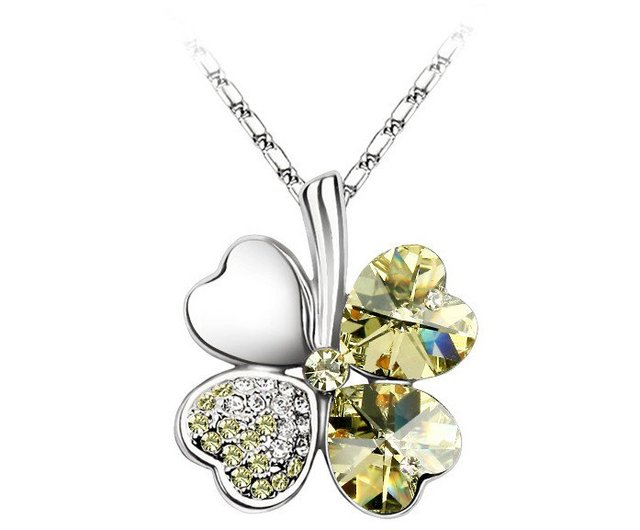 Wholesale Jewelry, White Gold Plated Champagne Austria Crystal Lucky Four-Leaf Clover Pendant Necklace, Free Shipping