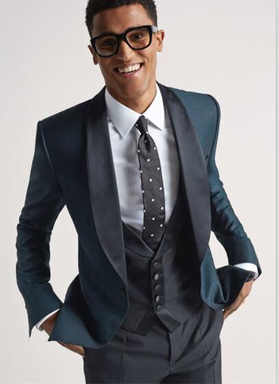 Latest Coat Pant Designs Blue Black Shawl Lapel Formal Custom Made Suit For Men Groom Slim Fit Stylish 3 Pieces Masculino C
