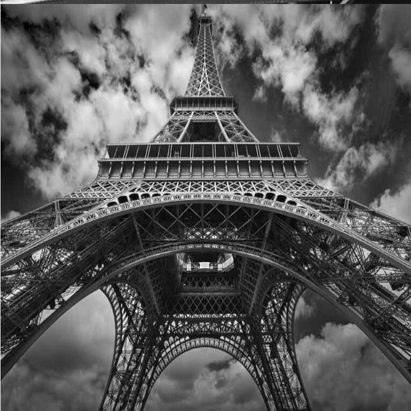Us 885 41 Offwellyu Custom Large Fresco Hd Black And White Eiffel Tower Background Wall Non Woven Wallpaper Papel De Parede Para Quarto In
