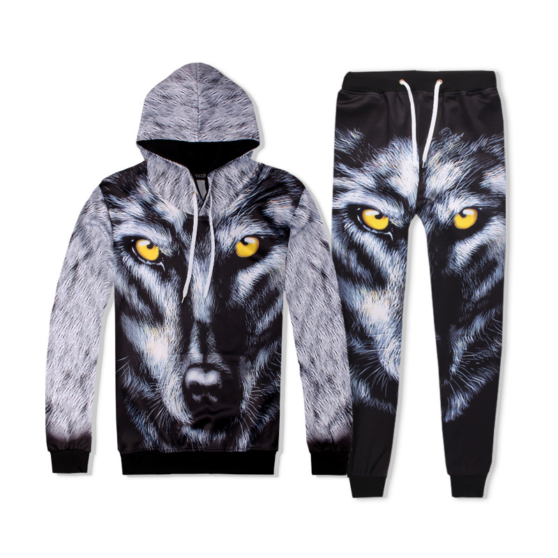 Hot 2 Piece Set Men And Women Casual Tracksuits 3D Print WOLF Fashion Hoodies Hooded+Pants Sweatshirt Track Suit