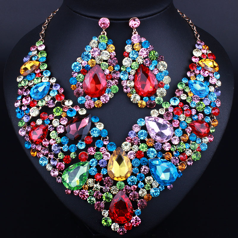 Luxurious wedding jewelry Full Crystal Rhinestone Statement Necklace and long earrings sets Dazzling Bridal party jewelry sets statement alloy crochet earrings and necklace