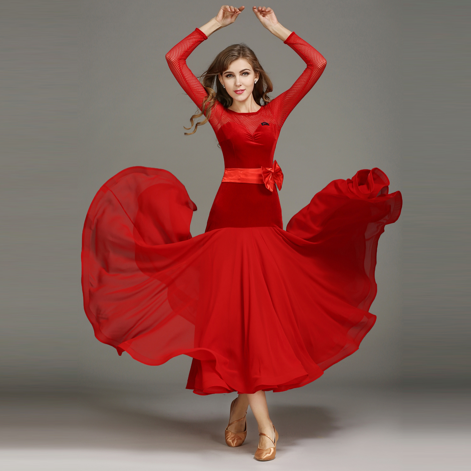 Modern Dance Costume Women Lady Adult Waltzing Tango Bow Dancing Dress Ballroom Costume Evening Party Dress tuffstuff ap 71lp