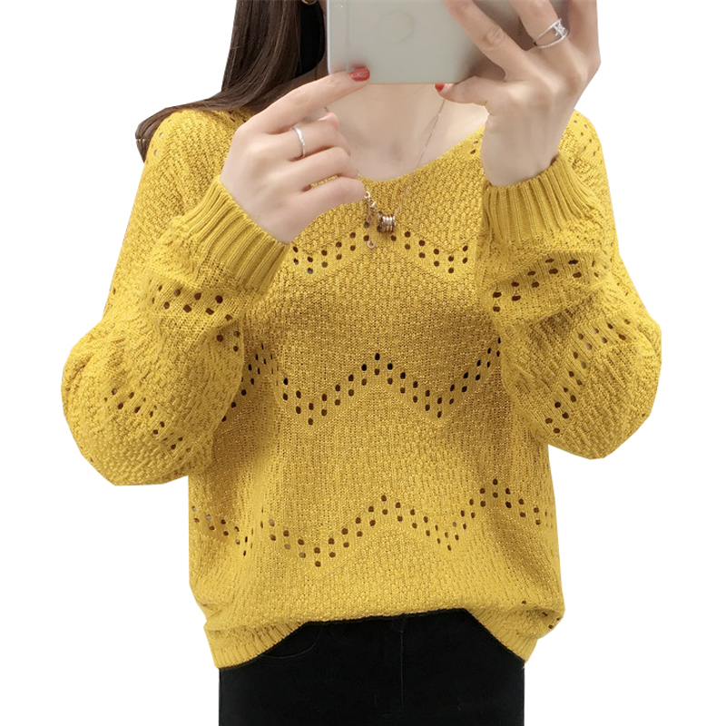 Autumn Hollow Out Women Pullover Sweaters Fashion Good Quality Loose Knitted Jumper Tops Soft Warm Female Knitting Sweater