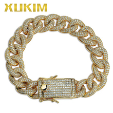 Xukim Jewelry Gold Silver Color Miami Cuban Link Chains Hip Hop Iced Out Bracelet for Men Women Punk Rapper Party Gift