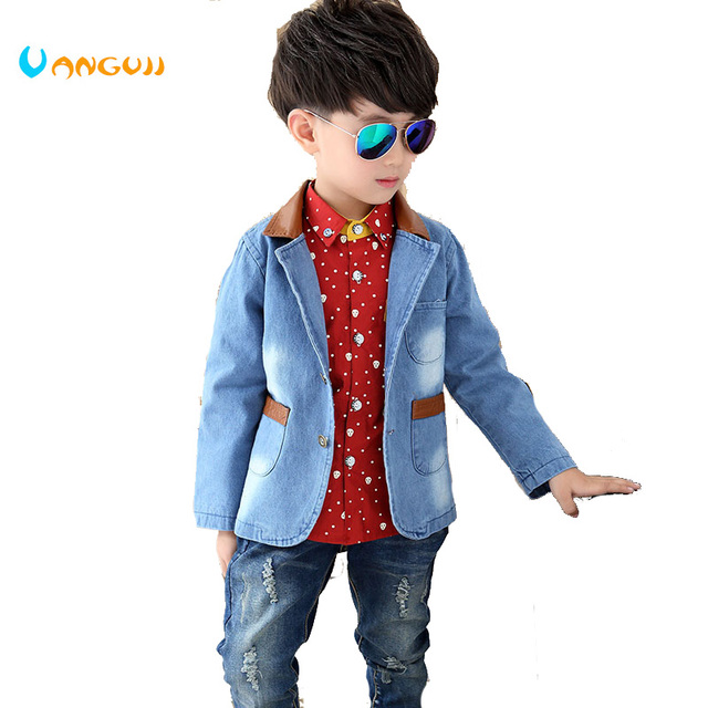 b0f0fd9e5 2017 Spring and Autumn hot children cowboy jacket 4-11 year old cotton pu  stitching fashion boy suit jacket boys coat