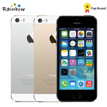 Завода разблокирована оригинальный Apple iPhone 5S с отпечатков пальцев IOS OS 4,0 дюймов Экран мобильного телефона Touch ID iCloud App Store