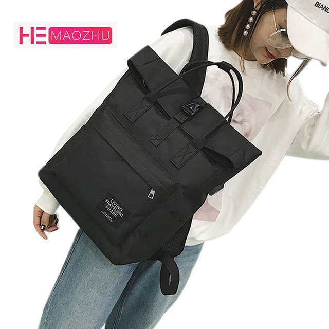 74ded5b184 HEMAOZHU New Fashion Korean Men and Women with The Same Shoulder Bag  Backpack USB Canvas Interface Backpack Travel Bag Tide Bag