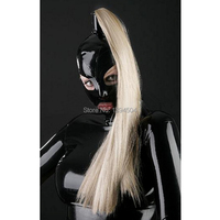 2017 Black Latex Cute Girl Exotic New Design Open Eyes And Mouth Handmade Catsuits Costume Hoods