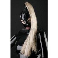 2017 de Látex preto bonito menina exotic New design abra os olhos e boca handmade Catsuits Costume Capuzes Máscara com longa tress