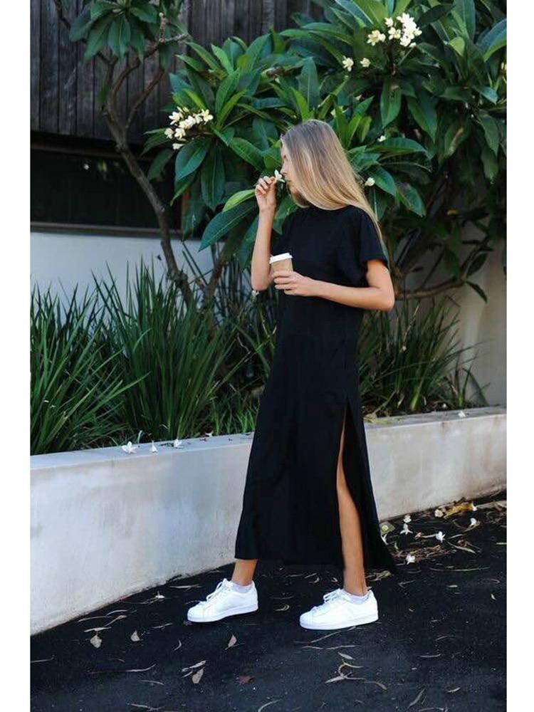 Maxi T-Shirt Long-Dresses Black Sexy Party Korean-Style Bodycon Casual Vintage Cotton