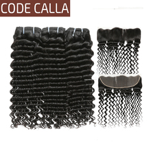 Code Calla Deep wave Peruvian virgin hair bundles with 13*4 lace Frontal For Hair Salon high Ration 30% can be dye Natural color