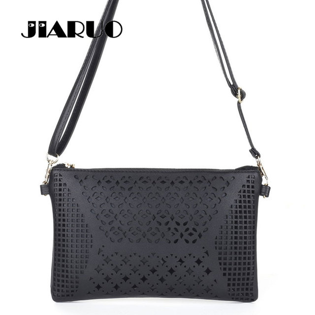 JIARUO Vintage Retro Hollow Out Flower Envelope Bag Small Slim Women  Leather Messenger bag Crossbody Shoulder bag Handbag Purses 8c3dce4dbf404