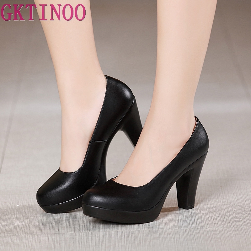 GKTINOO Shoes Women Pumps Round-Toe High-Heels Black Plus-Size Genuine-Leather Fashion
