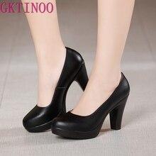 GKTINOO Genuine Leather shoes Women Round Toe Pumps Sapato feminino High