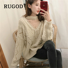 RUGOD Sexy lace mesh patchwork knitted women sweater Korean chic round neck twisted pullovers sweaters Fashion oversized wear