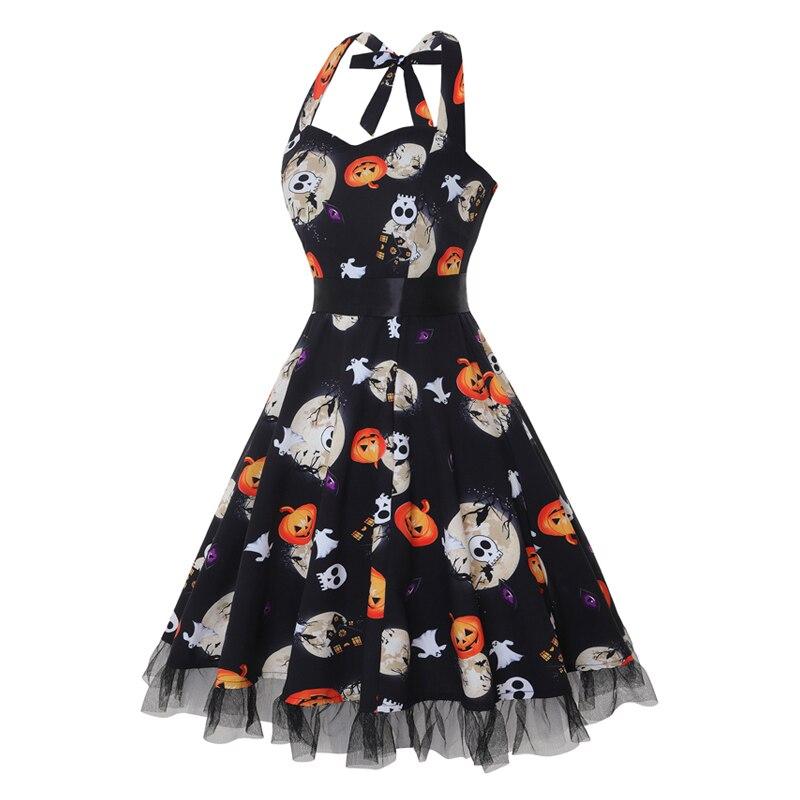 OTEN Vintage dress Halloween Style Women Summer clothes Halter Skull Print Rockabilly strapless pin up dresses vestido de festas in Dresses from Women 39 s Clothing