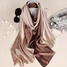 Nieuwe Ontwerp Luxe Merk Solid Zijde Zomer Sjaal Gradiënt Dip Dye Vrouwen Moslim Hijab Sjaal Lange Zachte Wrap