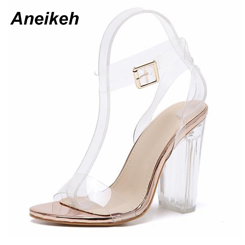 Aneikeh 2018 New PVC Women Sandals Sexy Clear Transparent Buckle Strap High Heels Shoes Size 35-41 Golden  champagne 942-6# Aneikeh 2018 New PVC Women Sandals Sexy Clear Transparent Buckle Strap High Heels Shoes Size 35-41 Golden  champagne 942-6#